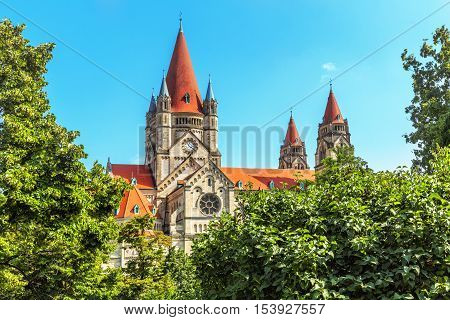 St. Francis of Assisi Church (Kirche zum heiligen Franz von Assisi) is a Basilica-style Catholic church in Vienna Austria. Built between 1898 and 1910. Austria.