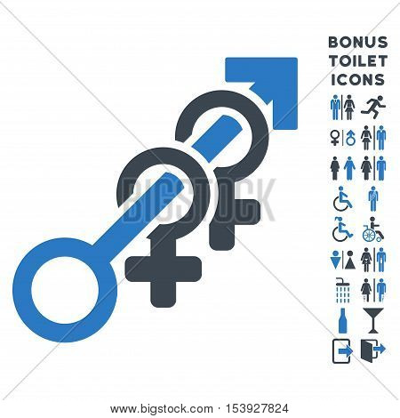 Harem icon and bonus gentleman and lady WC symbols. Vector illustration style is flat iconic bicolor symbols, smooth blue colors, white background.