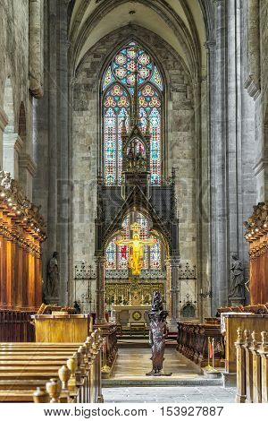 VIENNA AUSTRIA - JUNE 26 2016: Interior of the Church of Abbey of the Holy Cross (Stift Heiligenkreuz) is a Cistercian monastery in Vienna woods.