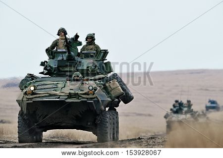GALATI ROMANIA - DECEMBER 11: US Assault Amphibious Vehicle in military polygon in the exercise Platinum Lynx 16 on Galati Romania 11 december 2015.
