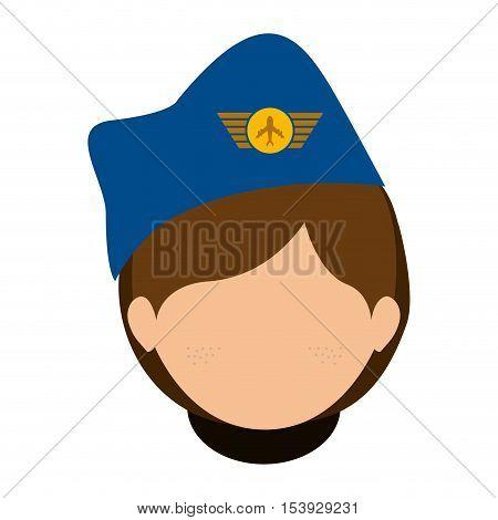 front face woman flight attendant vector illustration