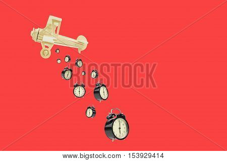 toy wood plane bomb alarms on red background