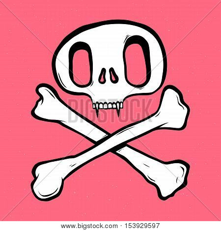 Skull and crossed bones isolated vector illustration on pink