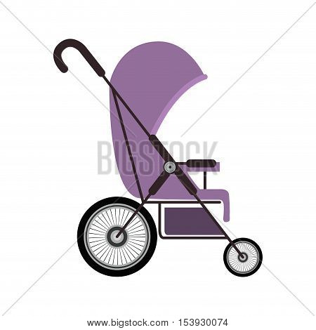 simple purple baby carriage with layette vector illustration