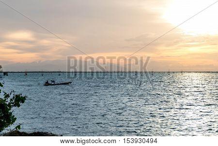 Sunset time at Yo Island Songkhla Thailand
