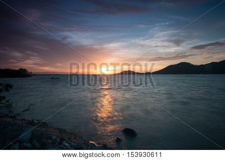 Sunset at Yo Island , Songkhla , Thailand