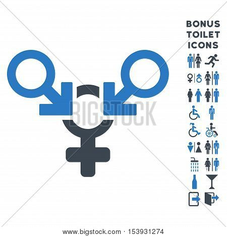 Polyandry icon and bonus gentleman and woman lavatory symbols. Vector illustration style is flat iconic bicolor symbols, smooth blue colors, white background.