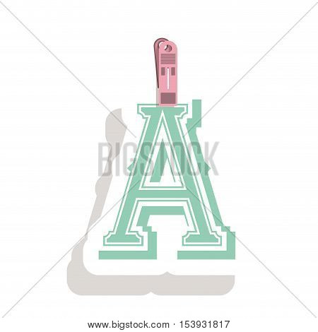 Clothespin holding relive letter a in shade vector illustration