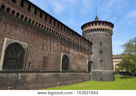 Torrione del Carmine (Tower of Carmine) Sforza Castle XV century (Castello Sforzesco). Milan Lombardy Italy