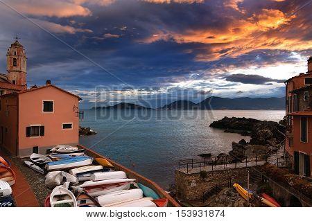Sunset in the small village of Tellaro in the Gulf of La Spezia Lerici Liguria Italy