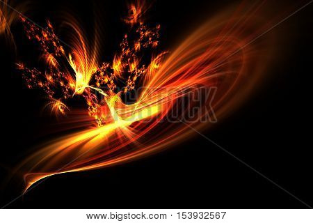 Abstract Fractal Dancing Flames And Sparks On Black