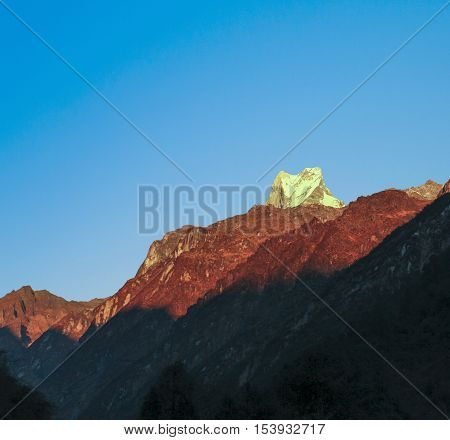 Silhouette of mount Machapuchare Annapurna area morning view Nepal poster