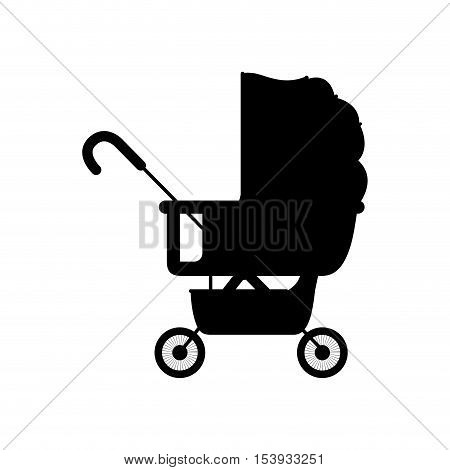 black silhouette baby carriage with layette vector illustration