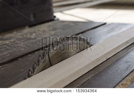 Sawing wooden plate on a workbench in the day shift
