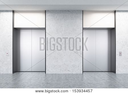 Two closed elevators with buttons in corridor with concrete walls. Concept of office center interior. 3d rendering. Mock up.