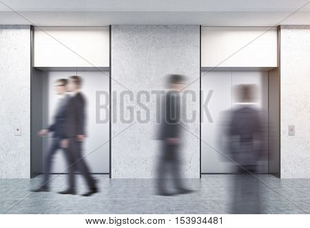 People in suits walking in corridor with two closed elevators with buttons and concrete walls. Concept of office center life. 3d rendering. Mock up.