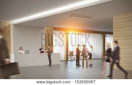 Colleagues in corridor of office with reception counter and meeting room with glass doors. Concept of modern workspace. 3d rendering. Mock up. Toned image.