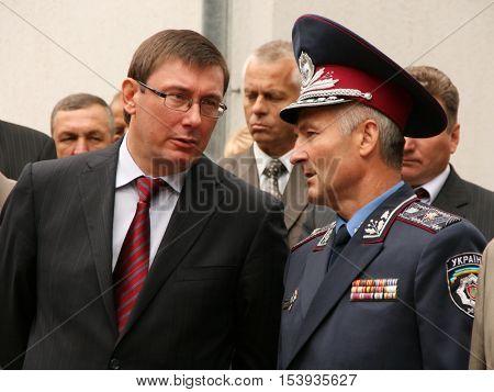 ZHURAVYCHI UKRAINE - 12 September 2008: Minister of Internal Affairs of Ukraine Yuriy Lutsenko (left) and the head of the regional police department in the Volyn region Viktor Shvydky
