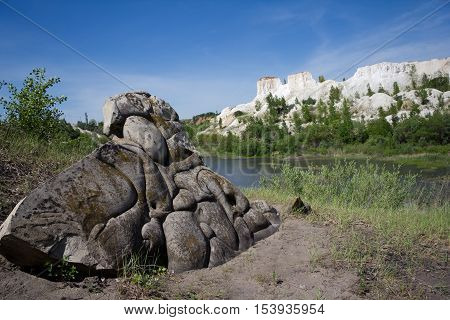 Ancient stone on a background of Voronezh Grand Canyon