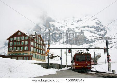 KLEINE SCHEIDEGG SWITZERLAND - 05 May 2009: The train station on the route to Jungfrau