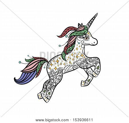 Mythical Unicorn in a magical animal doodle style vector. Decorative design for coloring books for adults and children. Stress art therapy Coloring page. Printing for clothes, tattoos, cards, etc.
