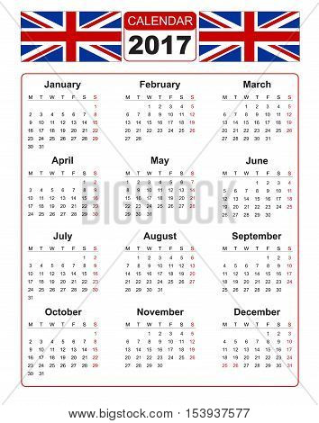 Calendar for 2017 on white background with two vector image of united kindom flag. Vector EPS10.