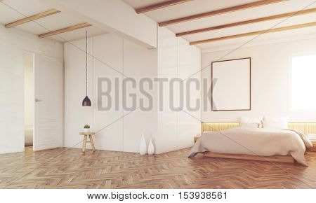 Bedroom With Ceiling Beams, Toned
