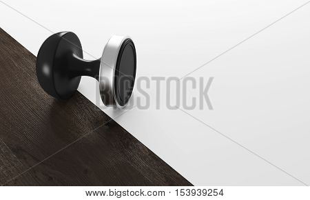 Black stamp lying on dark wood and white table surface. Concept of bureaucracy. 3d rendering. Mock up.