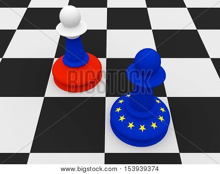Conflict Between Russia And EU: Russian and EU Flag Chess Pawns 3d illustration