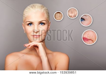 Beauty portrait face of happy smiling beautiful blond woman with blue eyes and smooth skin thinking of aging aesthetics cosmetics skincare concept.