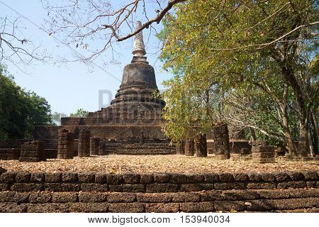 The ancient chedi at the ruins of the Buddhist temple Wat Khao Suan Khiri. Historical Park Si Satchanalai, Thailand