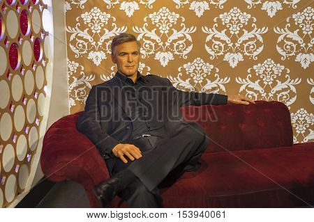 London, the UK-May 2016: George Clooney wax figure in Madame Tussaud's  museum