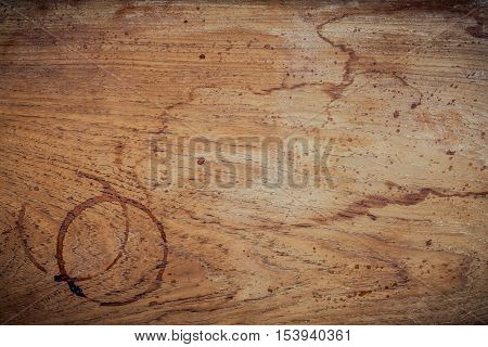 Beverage Background And Coffee Menu Design . Coffee Ring On Shabby Teak Woods . Coffee Stains On Gru