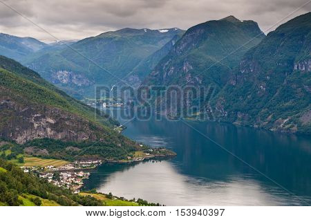 View at Aurland and Aurlandfjord in cloudy weather Stegastein viewpoint of Norway poster