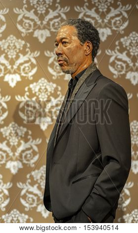 London, the UK - May 2016: Morgan Freeman wax figure in Madame  Tussauds museum