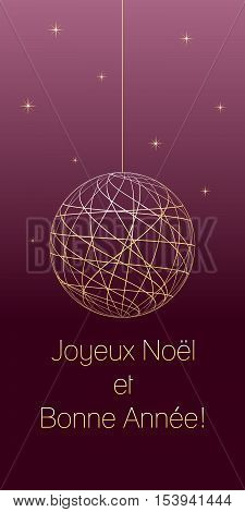 french christmas and new year greeting card with french text on dark pink background very soft gold colored elements christmas ball and stars vector illustration