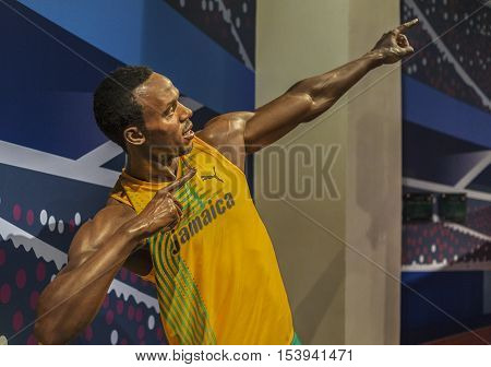 London, the UK - May 2016: Usain Bolt wax figure in Madame  Tussauds museum
