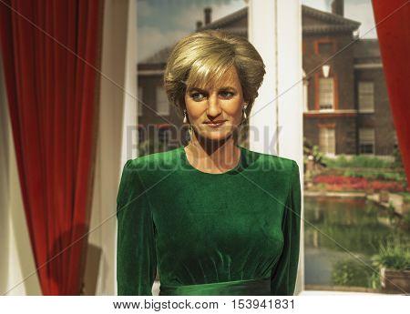 London, the UK - May 2016: Princess Diana wax figure in  Madame Tussauds museum