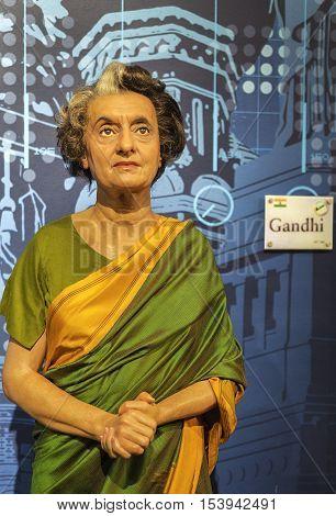 London, the UK - May 2016: Indira Gandhi wax figure in Madame  Tussauds museum