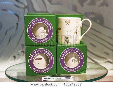 London, the UK - May 2016: Souvenir cups n the official Wimbledon store
