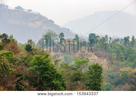 Mountain landscape and polluted air in Nepal