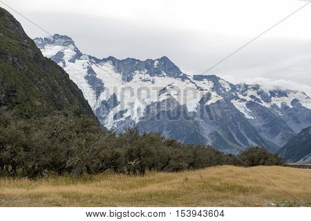 Mount Cook Road (state Highway 80) Along The Tasman River Leading To Aoraki / Mount Cook National Pa