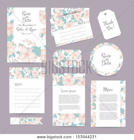 Vector gentle wedding cards template with flower design. Wedding invitation or save the date RSVP menu and thank you card for bridal design. Vector set of postcard with floral decoration.