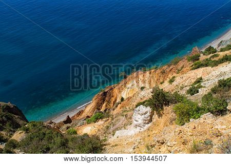 Fiolent cape. Sunny view of the Black Sea. Crimea.