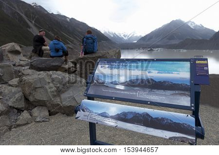 Mount Cook, New Zealand - February 2016: Tasman Glacier Viewpoint Where New Zealand's Longest Glacie