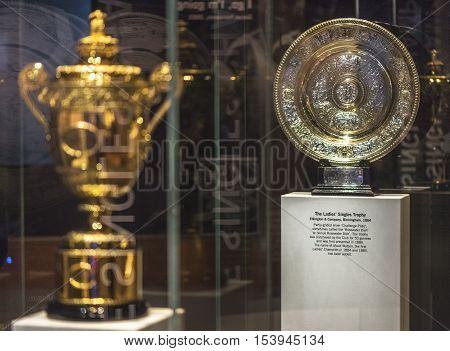 London, the UK - May 2016: Wimbledon main trophies in the museum