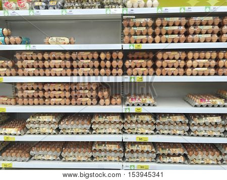 CHIANG RAI THAILAND - OCTOBER 28 : various size of eggs in packaging in supermarket stand or shelf in Big C Supercenter on October 28 2016 in Chiang rai Thailand