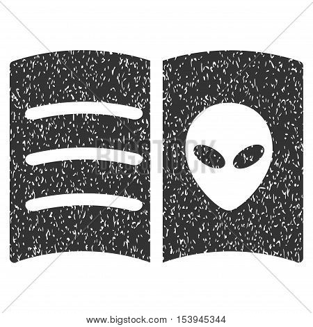 Alien Face Book grainy textured icon for overlay watermark stamps. Flat symbol with dirty texture. Dotted vector gray ink rubber seal stamp with grunge design on a white background.