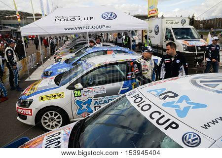 Moscow Russia - Apr 18 2015: VW Polo Cup display stand during the Rally Masters Show 2015 at the Krylatskoye District.