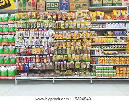 CHIANG RAI THAILAND - OCTOBER 28 : dof food nn animal supermarket stand or shelf in Big C Supercenter on October 28 2016 in Chiang rai Thailand